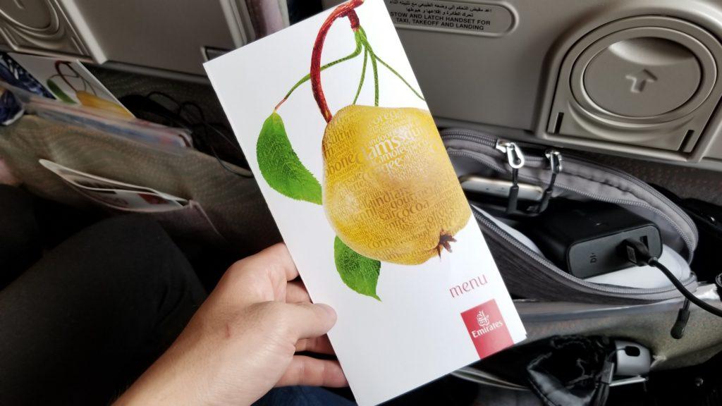 エミレーツ航空機内食のメニュー