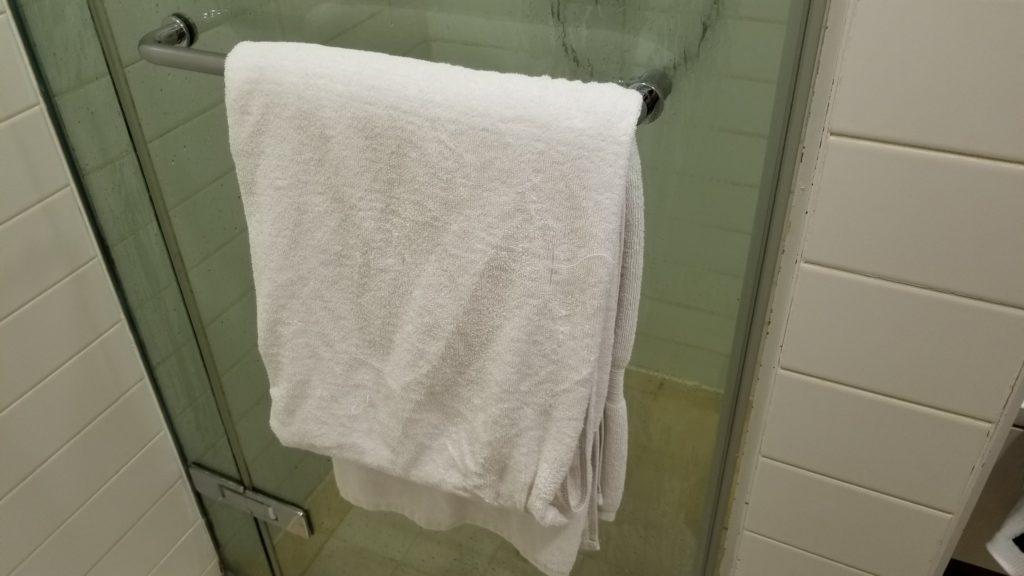 厚手のタオルが用意されている(生地はゴワゴワ)