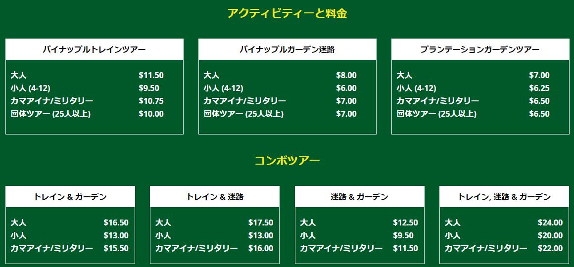 ドールプランテーションの料金表