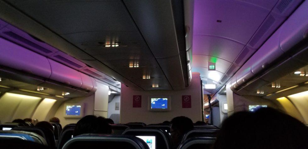 ハワイアン航空の機内