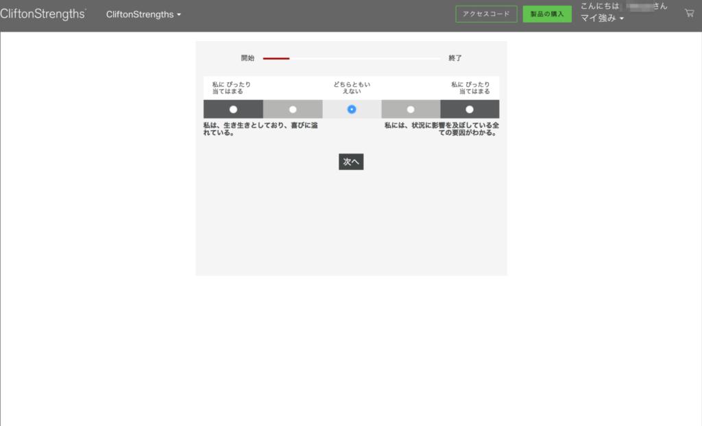 ストレングスファインダーの診断画面