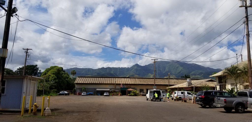 ソープファクトリーとワイラルアコーヒーの大きな広い駐車場