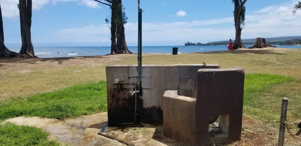 サンライズシェルビーチの手洗い・足洗い場