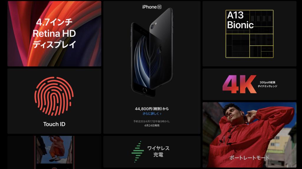 iPhone SE 2020(Apple公式サイトより)
