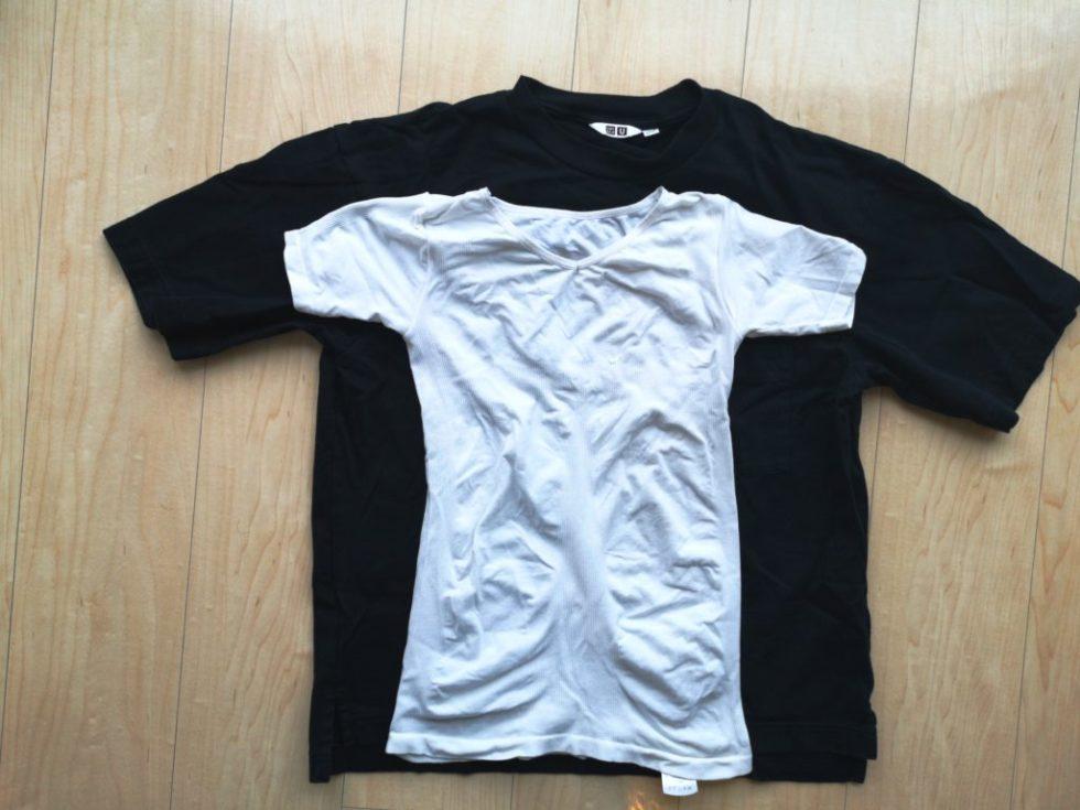 ユニクロのシャツとマッスルプレスの大きさを重ねて比較